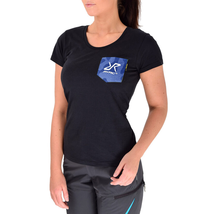 Fat Logo Tee Black/Blue Camo Women