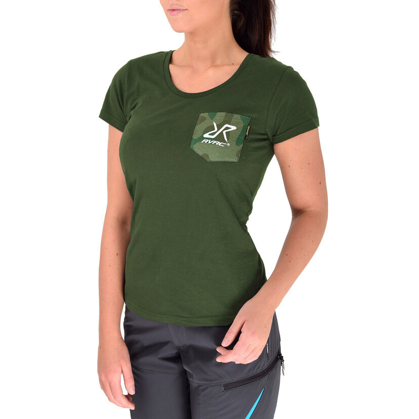 Fat Logo Tee Green Camo Women