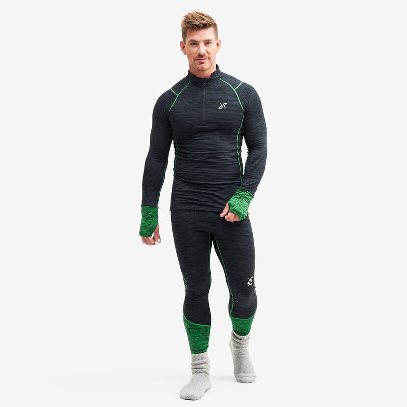 Hiball Waffle Baselayer Black/Fern Men