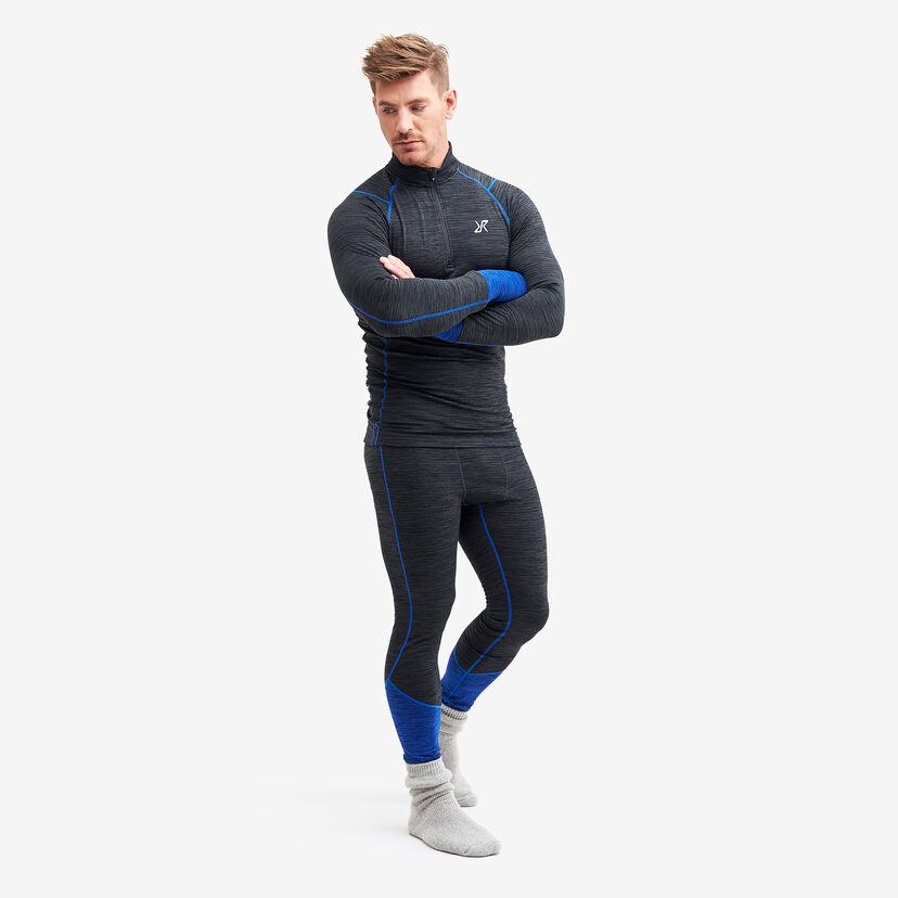 Hiball Waffle Baselayer Black/Blue Men