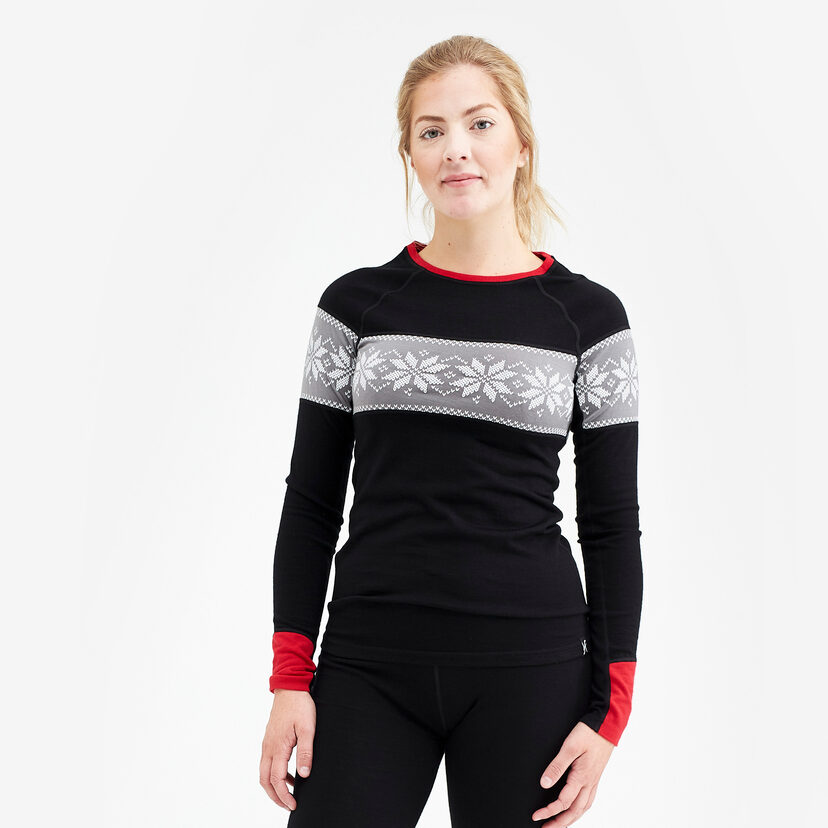 Merino Wool Top Black/Fire Dam